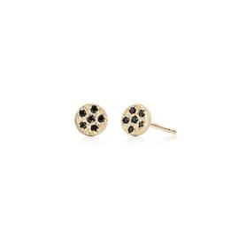 10 ct. Gold Lady Luck earsticks w. Black Diamonds