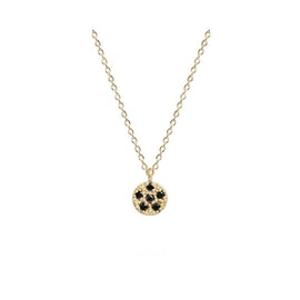 10 ct. Gold Lady luck w. Black diamonds necklace