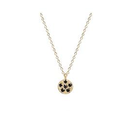 10 ct. Gold Lady luck w. Black diamonds necklace