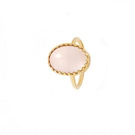 Oval Gilded Marvels ring Rose Quartz