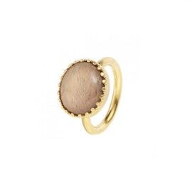 Big Gilded Marvel ring w. Sand Moonstone