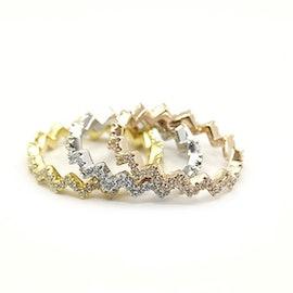 3 Wave Crystal mix rings fra A-Hjort i Forgylt-Sølv Sterling 925