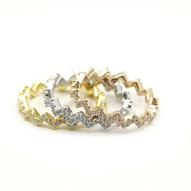 3 Wave Crystal mix rings