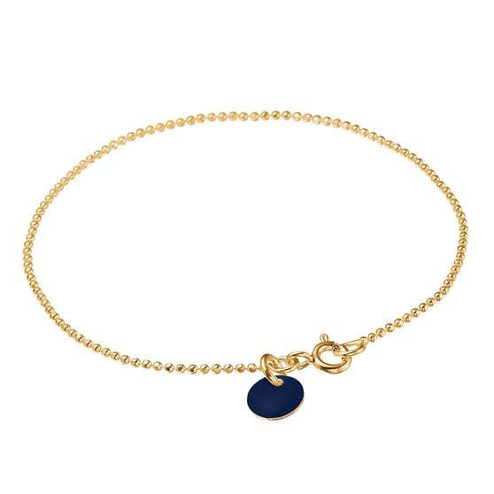 Enamel bracelet Dark Blue von Enamel Copenhagen in Vergoldet-Silber Sterling 925|Blank