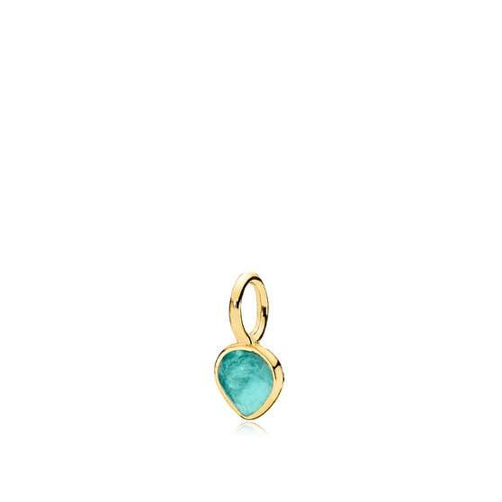 Heart Drop green fluorite pendant fra Izabel Camille i Forgyldt-Sølv Sterling 925