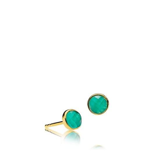 Orient green onyx earsticks von Izabel Camille in Vergoldet-Silber Sterling 925