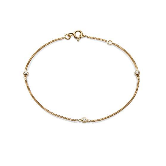 Jolie 3 White Stones bracelet från Maanesten i Förgyllt-Silver Sterling 925|Blank