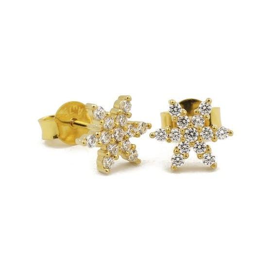 Star Shine earsticks von A-Hjort in Vergoldet-Silber Sterling 925