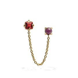Gem Candy earring w. chain and Granat Ruby mix