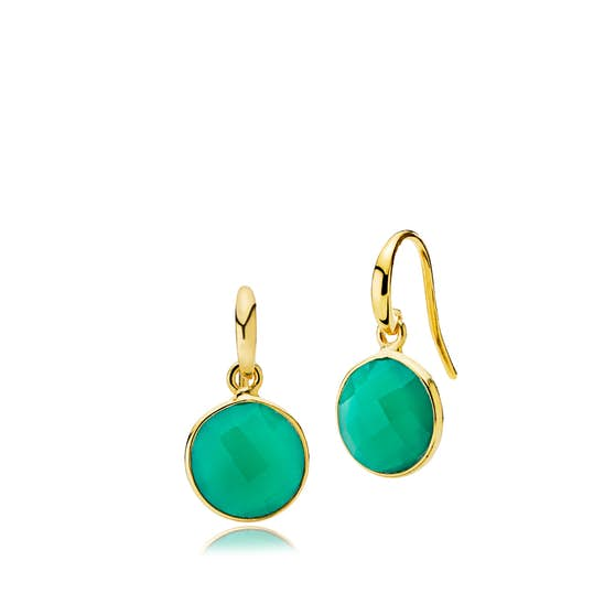 Prima Donna earrings Green onyx from Izabel Camille in Goldplated-Silver Sterling 925