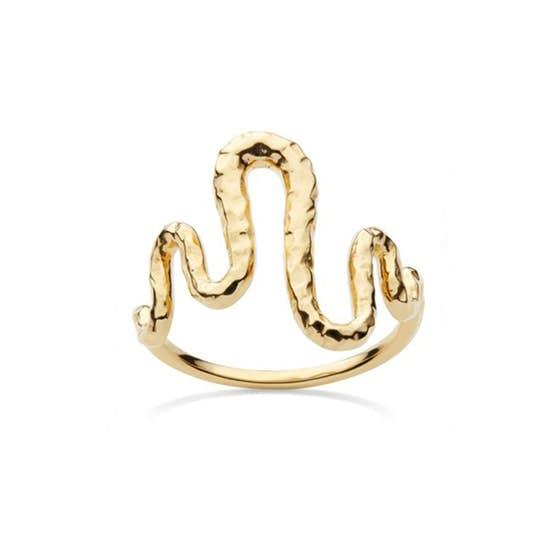 Viva ring von Maanesten in Vergoldet-Silber Sterling 925| Gehämmert,Blank