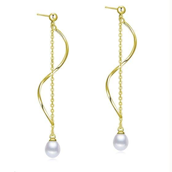 Anne Freshwaterpearl earrings fra A-Hjort i Forgyldt-Sølv Sterling 925