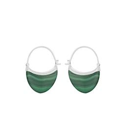 Small Malachite earrings fra Pernille Corydon i Sølv Sterling 925