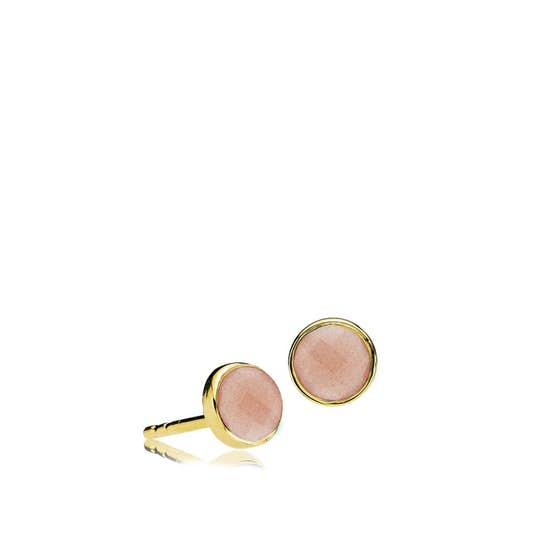 Prima Donna earsticks Peach Moonstone von Izabel Camille in Vergoldet-Silber Sterling 925