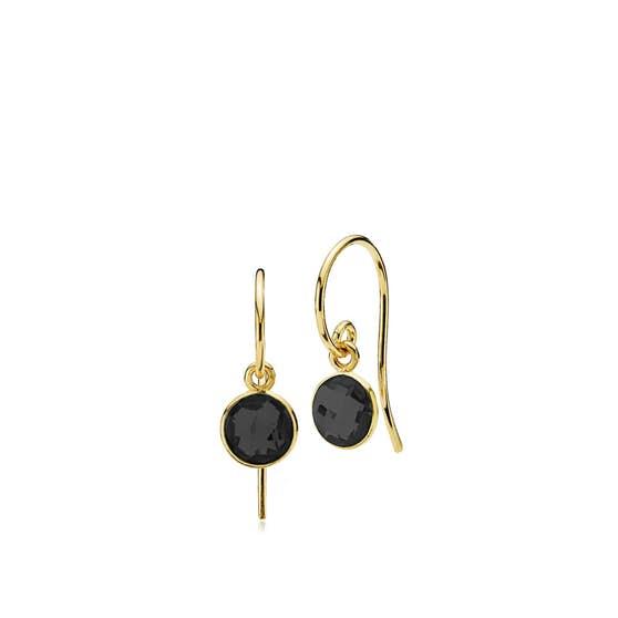 Prima Donna earrings small Black Onyx von Izabel Camille in Vergoldet-Silber Sterling 925