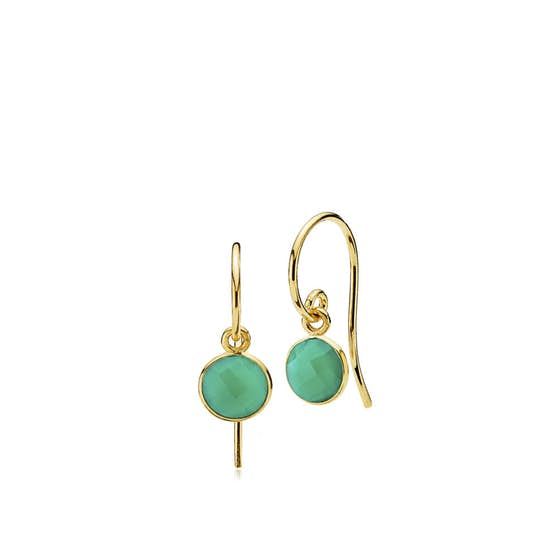 Prima Donna earrings small Green Onyx from Izabel Camille in Goldplated-Silver Sterling 925