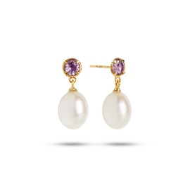 Gem Candy earrings w. Pearl and Amethyst