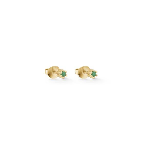 Petite Gem earsticks Green Agate from Enamel Copenhagen in Goldplated-Silver Sterling 925
