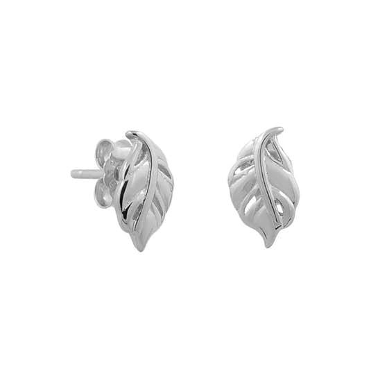 Small Leaf earsticks von A-Hjort in Silber Sterling 925