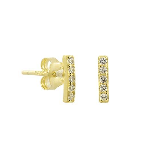 Alma Zircons earsticks från A-Hjort i Förgyllt-Silver Sterling 925