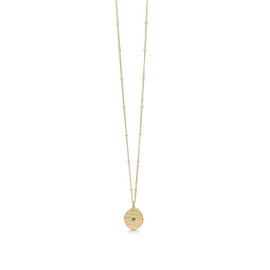 Esma necklace Green Agate from Enamel Copenhagen in Goldplated-Silver Sterling 925| Hammered, Matt,Blank