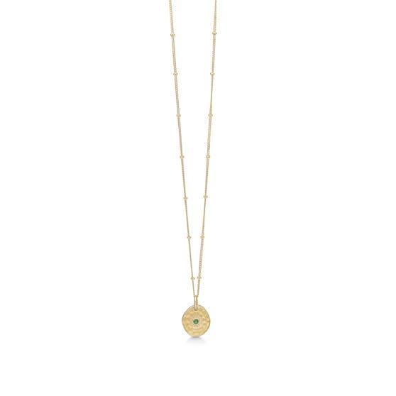 Esma necklace Green Agate fra Enamel Copenhagen i Forgyldt-Sølv Sterling 925| Hammerslåede, Matt,Blank
