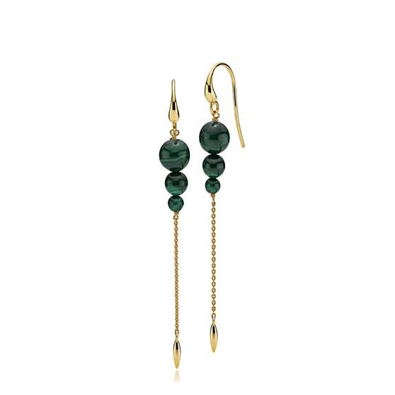 Miss Pearl earrings long Malakit fra Izabel Camille i Forgylt-Sølv Sterling 925