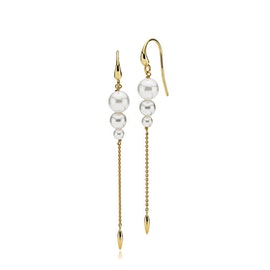 Miss Pearl earrings long White from Izabel Camille in Goldplated-Silver Sterling 925