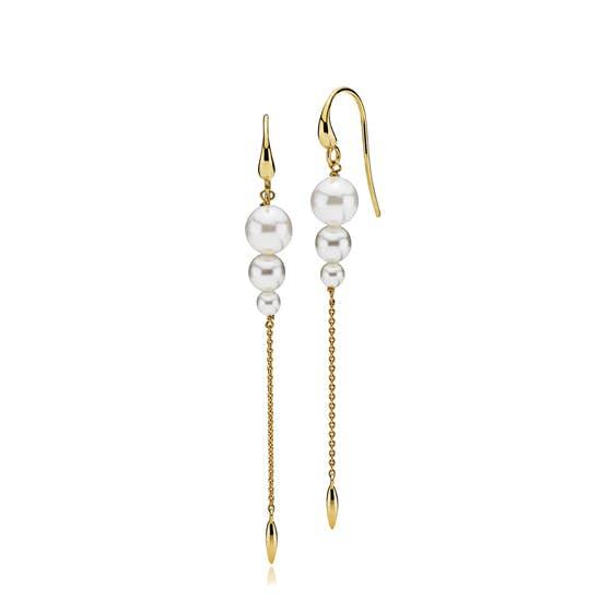 Miss Pearl earrings long White fra Izabel Camille i Forgylt-Sølv Sterling 925
