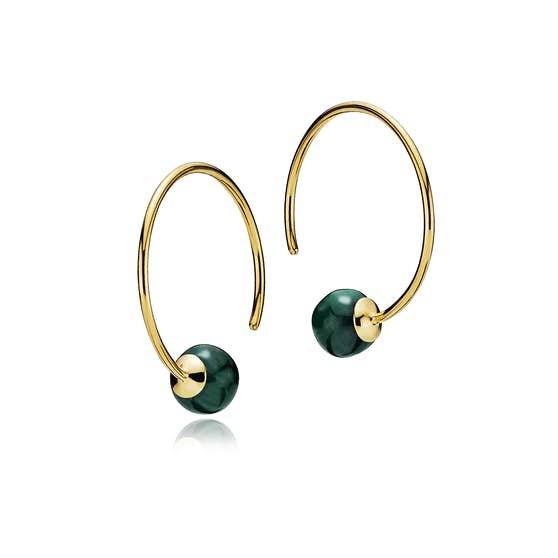 Miss Pearl medium creols Malakit from Izabel Camille in Goldplated-Silver Sterling 925