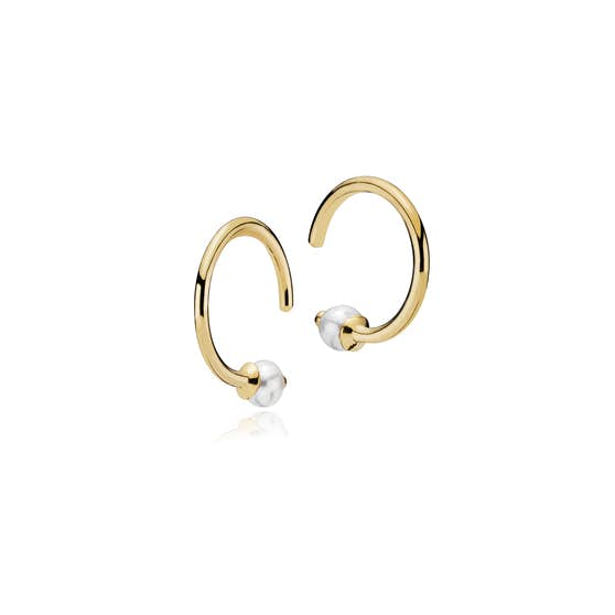 Miss Pearl small creol White from Izabel Camille in Goldplated-Silver Sterling 925