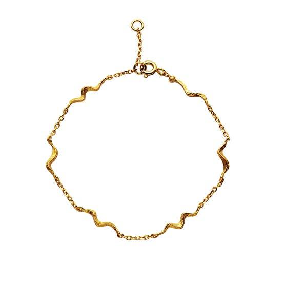 Unda bracelet von Maanesten in Vergoldet-Silber Sterling 925  Matt,Blank