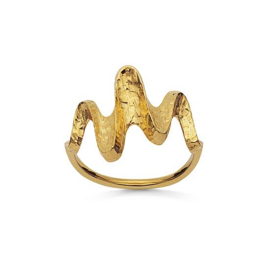 Bay ring fra Maanesten i Forgyldt-Sølv Sterling 925| Hammerslåede,Blank