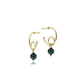 Globe creol earrings Green small