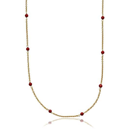 India necklace Red fra Sistie i Forgyldt-Sølv Sterling 925