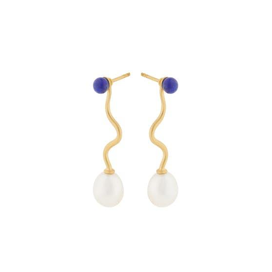 Lapis Lagoon earrings fra Pernille Corydon i Forgyldt-Sølv Sterling 925