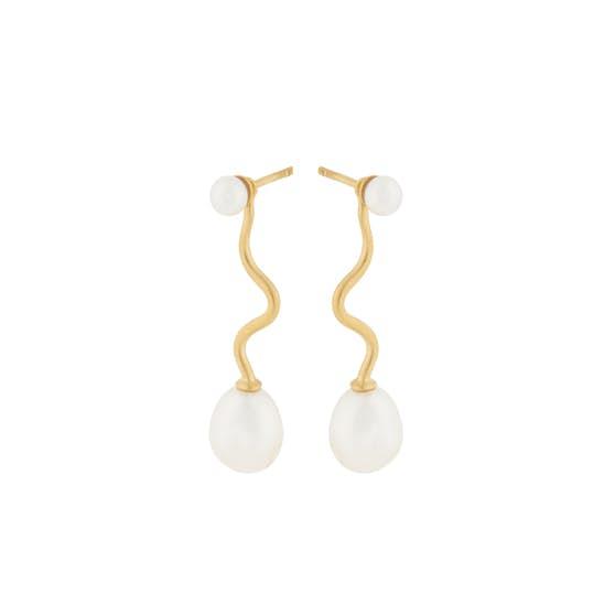 Lagoon earrings von Pernille Corydon in Vergoldet-Silber Sterling 925