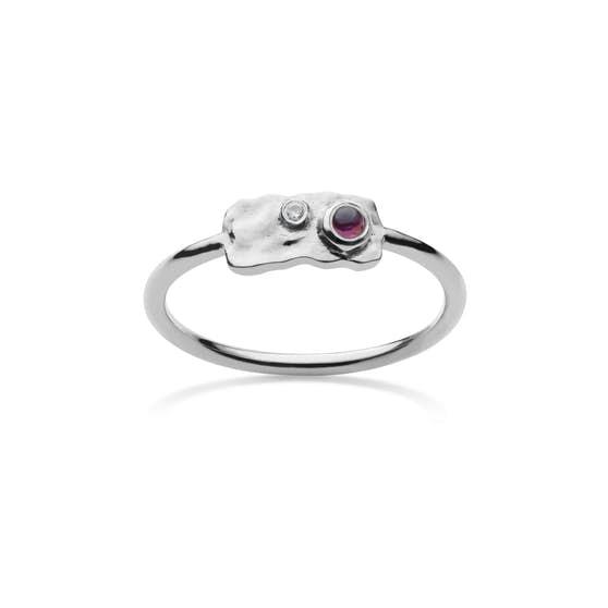 Drift ring fra Maanesten i Sølv Sterling 925| Hamret,Blank