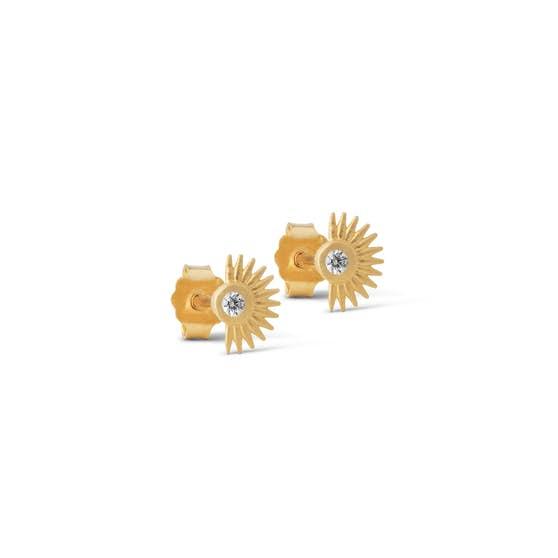 Petite Soleil earsticks von Enamel Copenhagen in Vergoldet-Silber Sterling 925