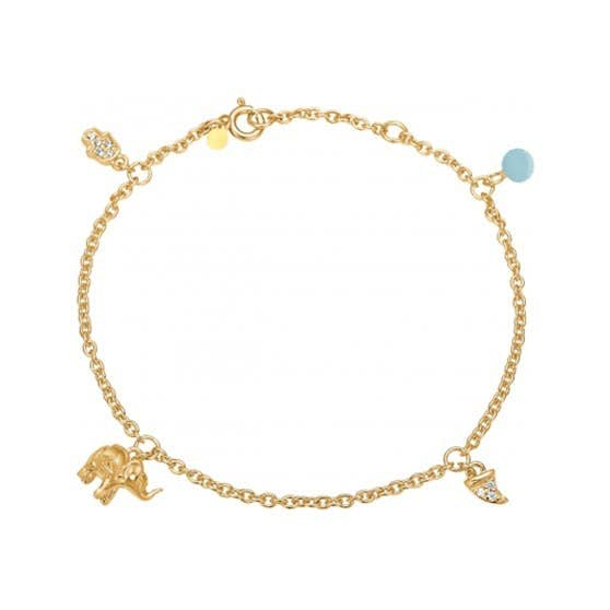 Lucky charms bracelet Arctic Blue fra Enamel Copenhagen i Forgyldt-Sølv Sterling 925| Matt,Blank
