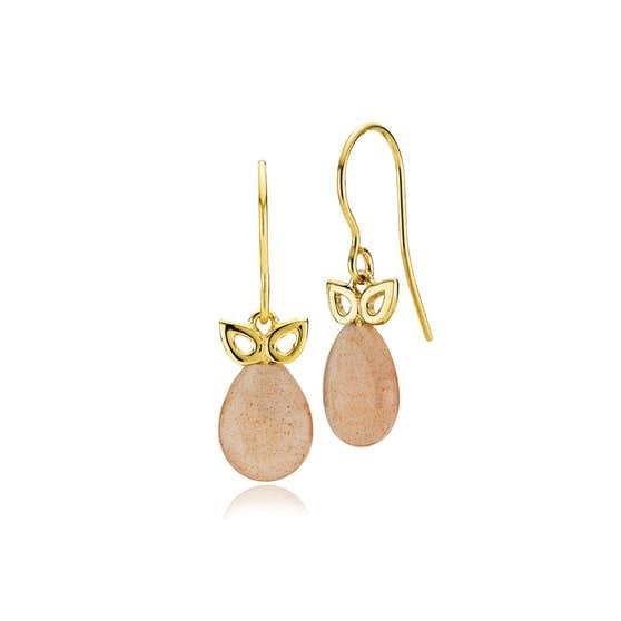 Scarlet earrings peach moonstone von Izabel Camille in Vergoldet-Silber Sterling 925