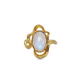 Siren ring fra Maanesten i Forgyldt-Sølv Sterling 925| Hammerslåede,Blank