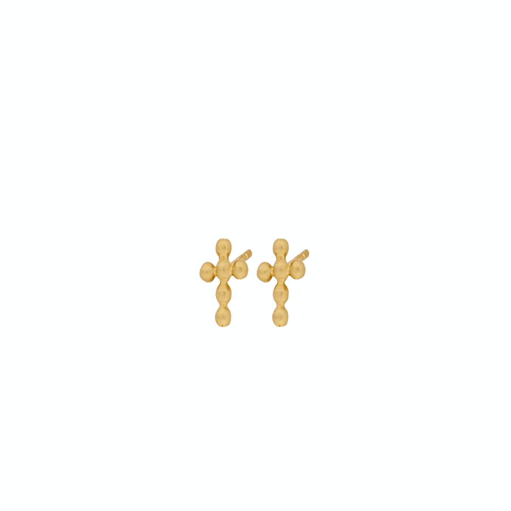 Cross Earsticks from Pernille Corydon in Goldplated-Silver Sterling 925