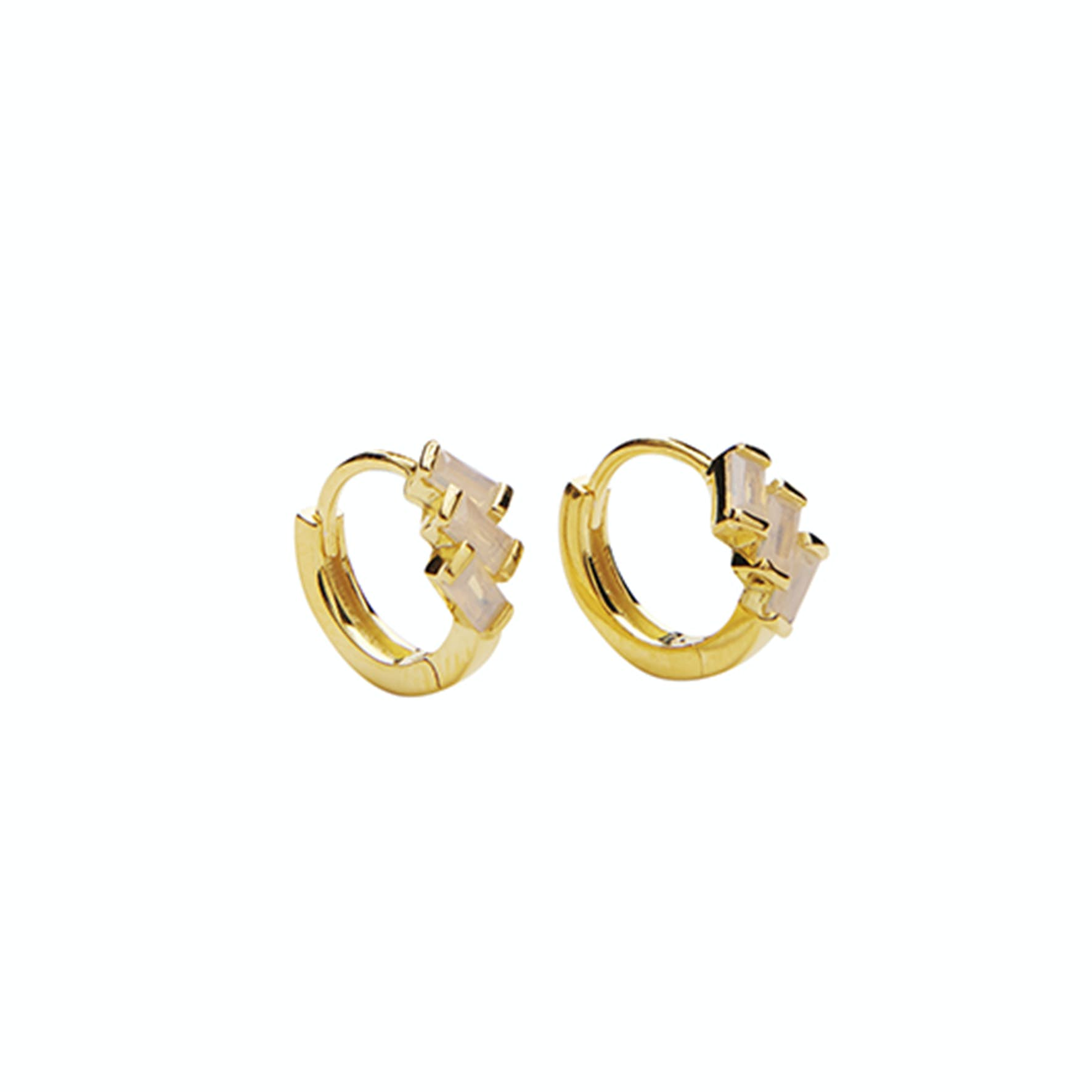 Mirach Crystal Powder Hoops from Pico in Goldplated-Silver Sterling 925