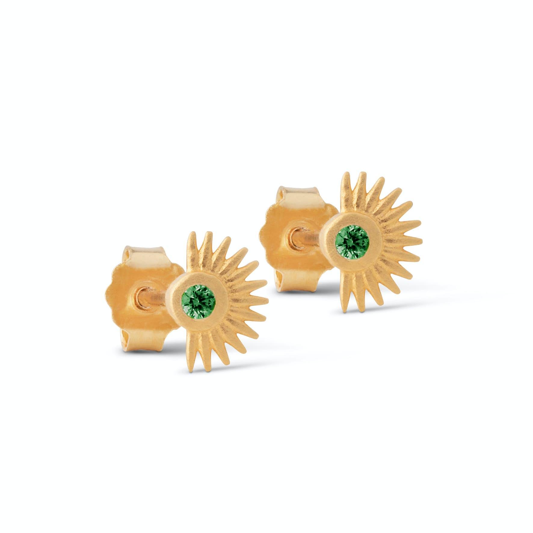 Petite Soleil Earsticks Green from Enamel Copenhagen in Goldplated-Silver Sterling 925