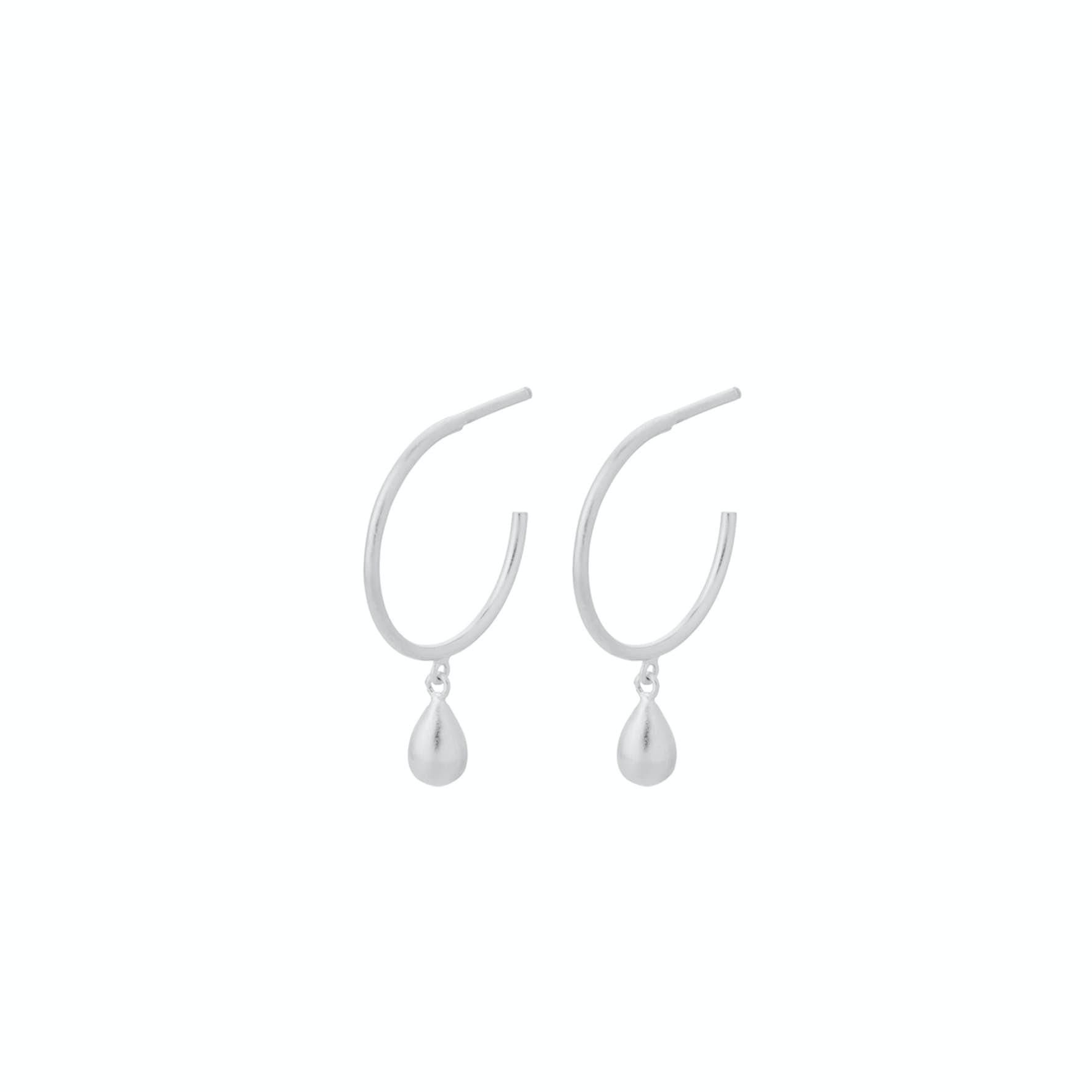 Waterdrop Hoops von Pernille Corydon in Silber Sterling 925