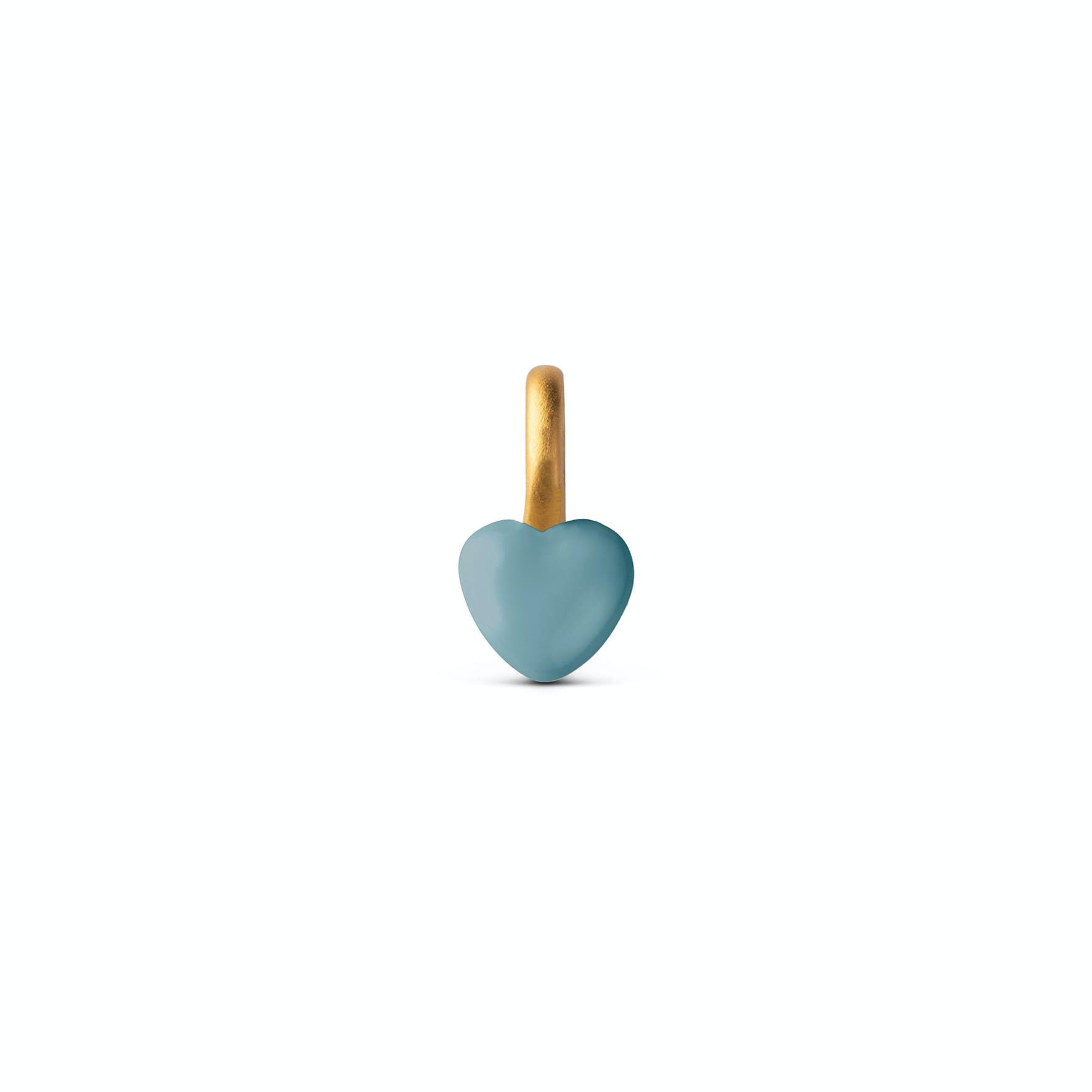 Enamel Heart Charm Dusty Turquoise från Enamel Copenhagen i Förgyllt-Silver Sterling 925