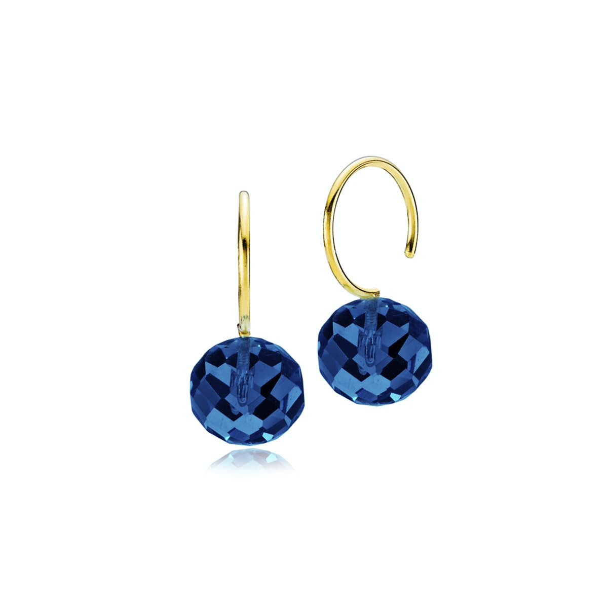 Marble Earrings Royal Blue Crystal Glass from Izabel Camille in Goldplated-Silver Sterling 925