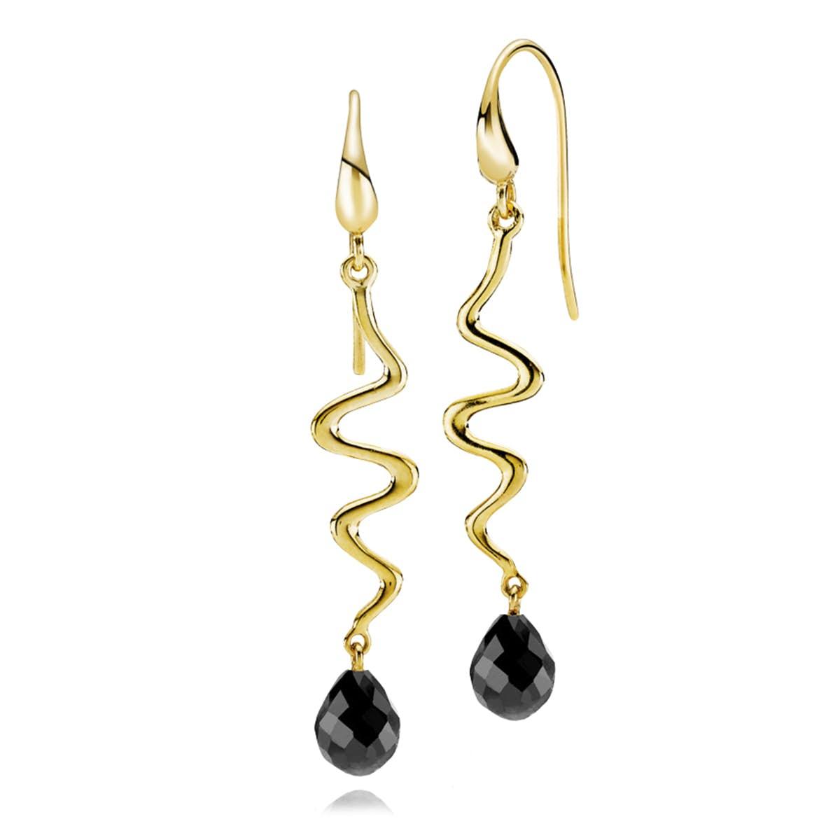 Saniya Earrings Black Onyx von Izabel Camille in Vergoldet-Silber Sterling 925