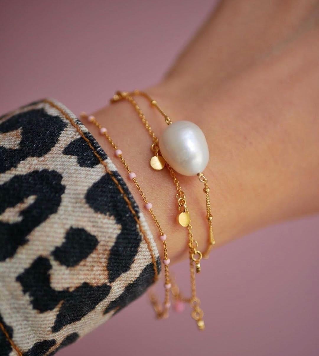 Raindrops Bracelet von Enamel Copenhagen in Vergoldet-Silber Sterling 925  Matt,Blank